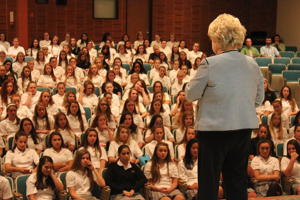 Mrs. Mann talks to the Class of 2019 on their first day of school.