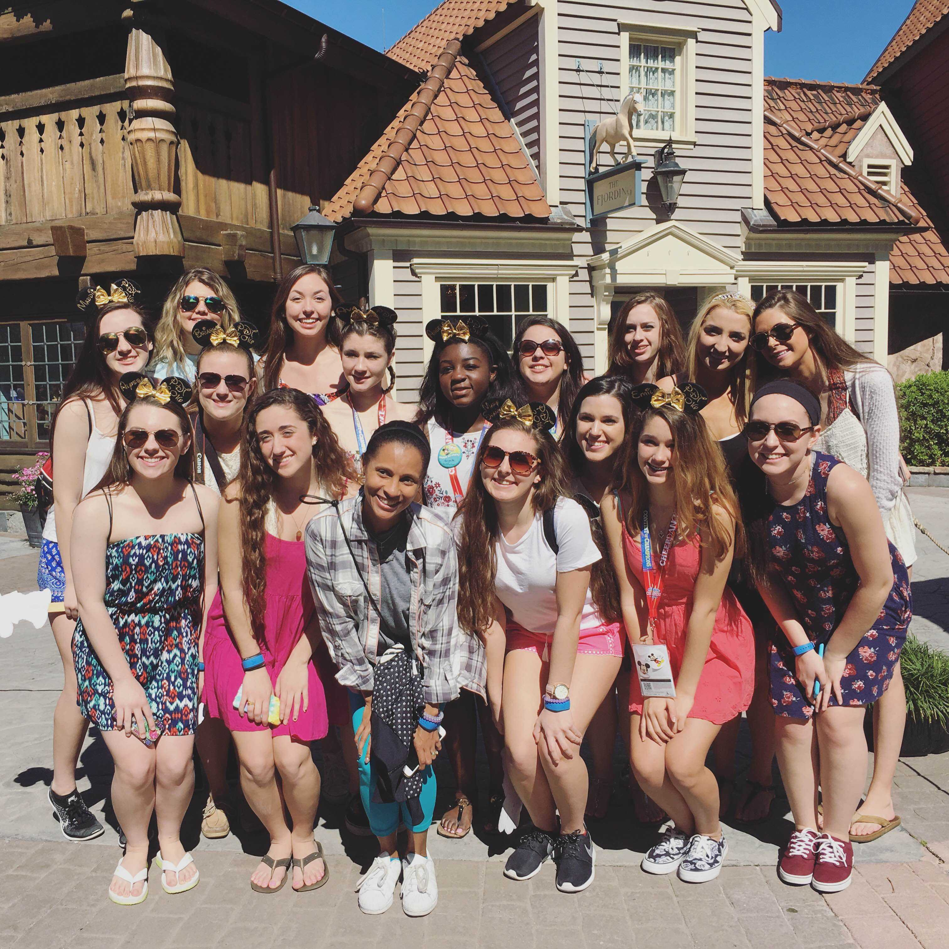 Dance Team in Norway in Epcot about to eat at the Princess Breakfast!
