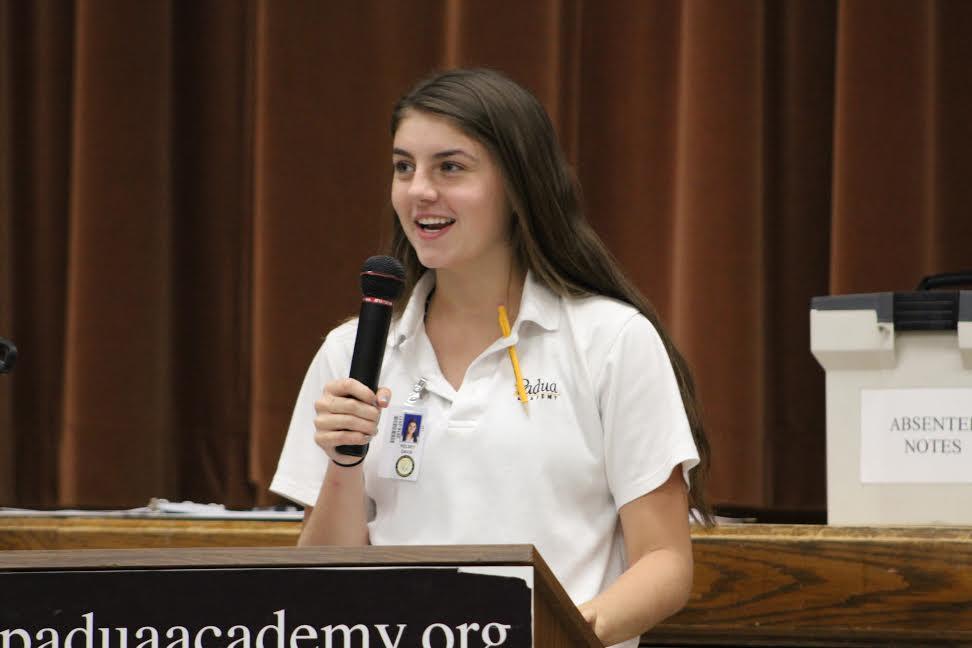 Kelsey Davis delivering her speech