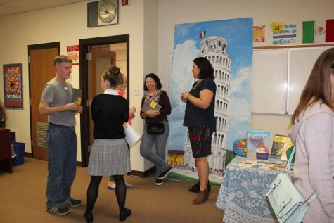 Mrs. Burris talks to parents about the World Languages at Padua Academy