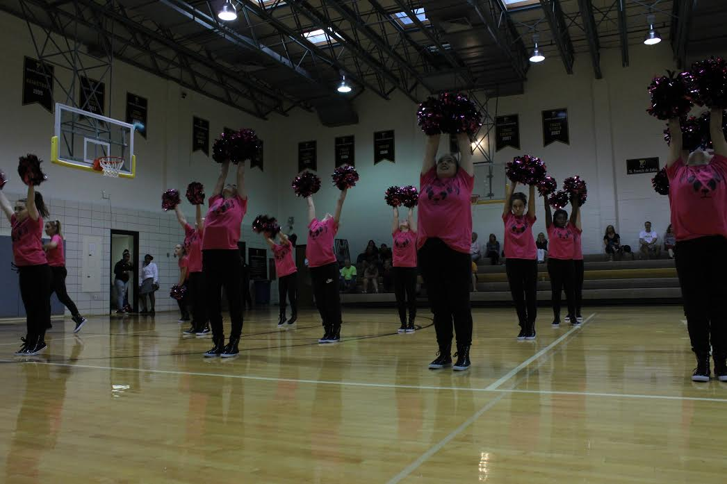 Padua's Dance Team performs during a spirit assembly.