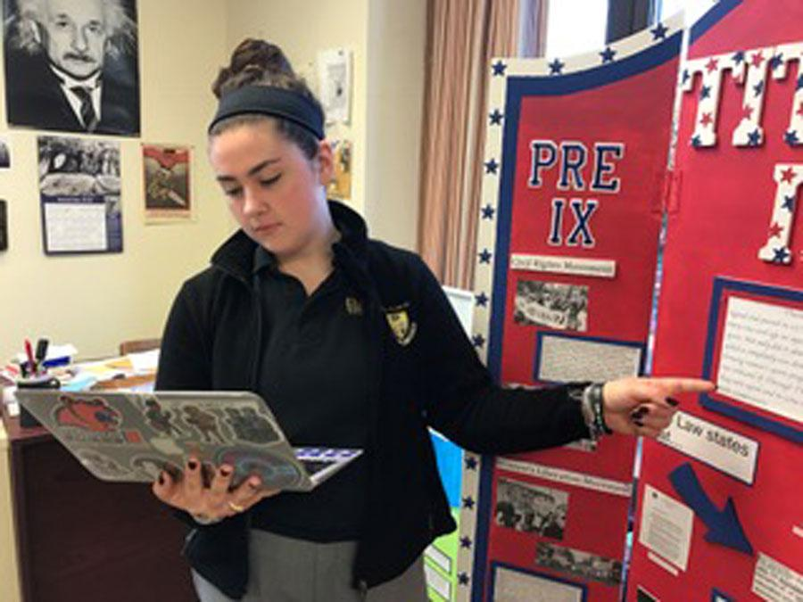 Students use last year's History Day projects as inspiration for this year's competition.
