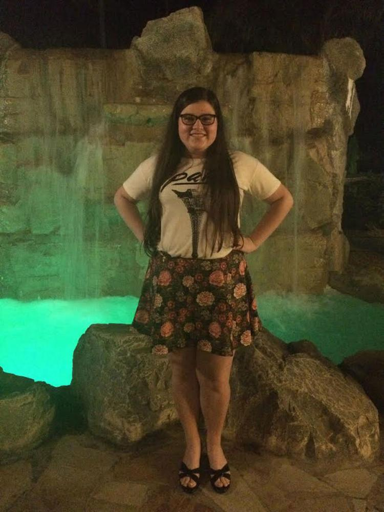 Junior Gabby M. wears a skirt she made and designed herself.
