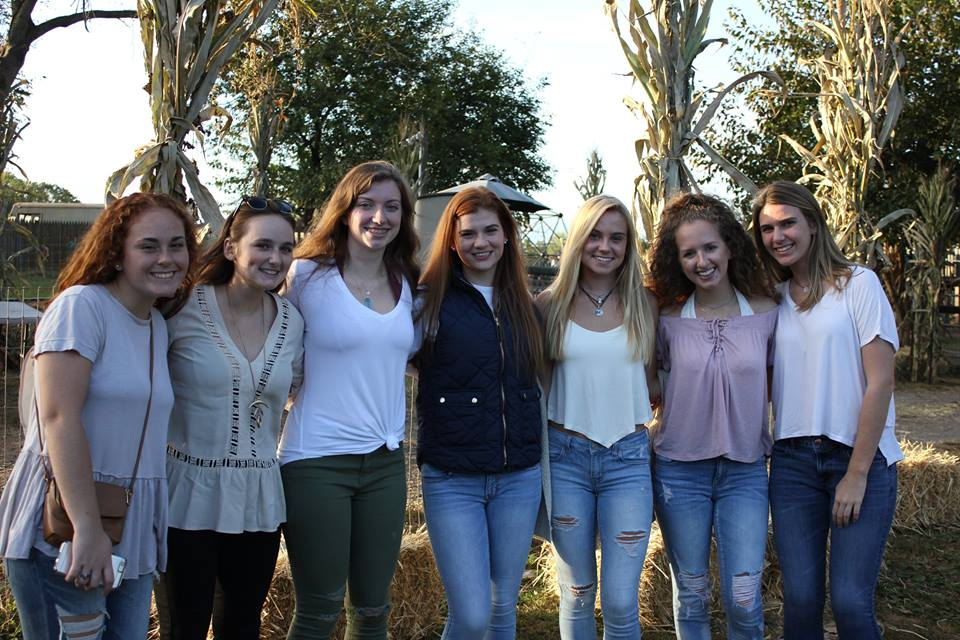 Picture of a group of Padua seniors enjoying a night at Linvilla Orchards this past October, via the Padua Academy Facebook page.  (left to right) Caroline Melia, Kaitlyn Cassidy, Hannah Ward, Alena Boyer, Mackenzie Hill, Dani Friedman, Allison Farrell