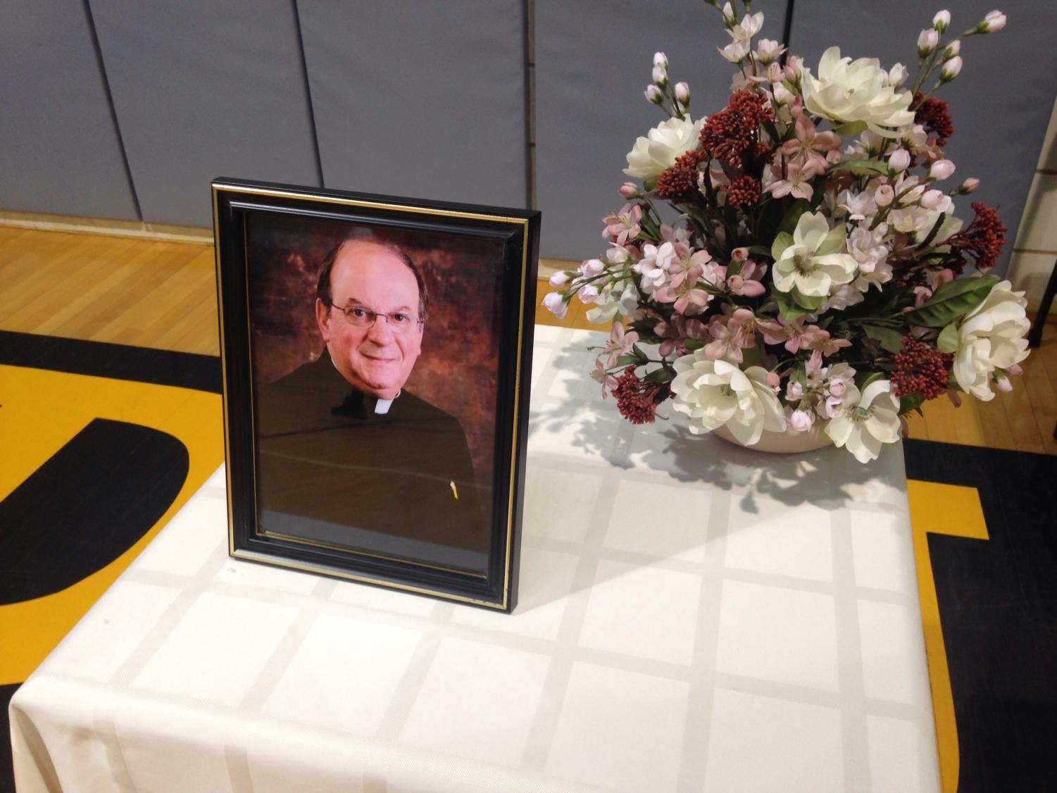 Father Nick's picture on display.