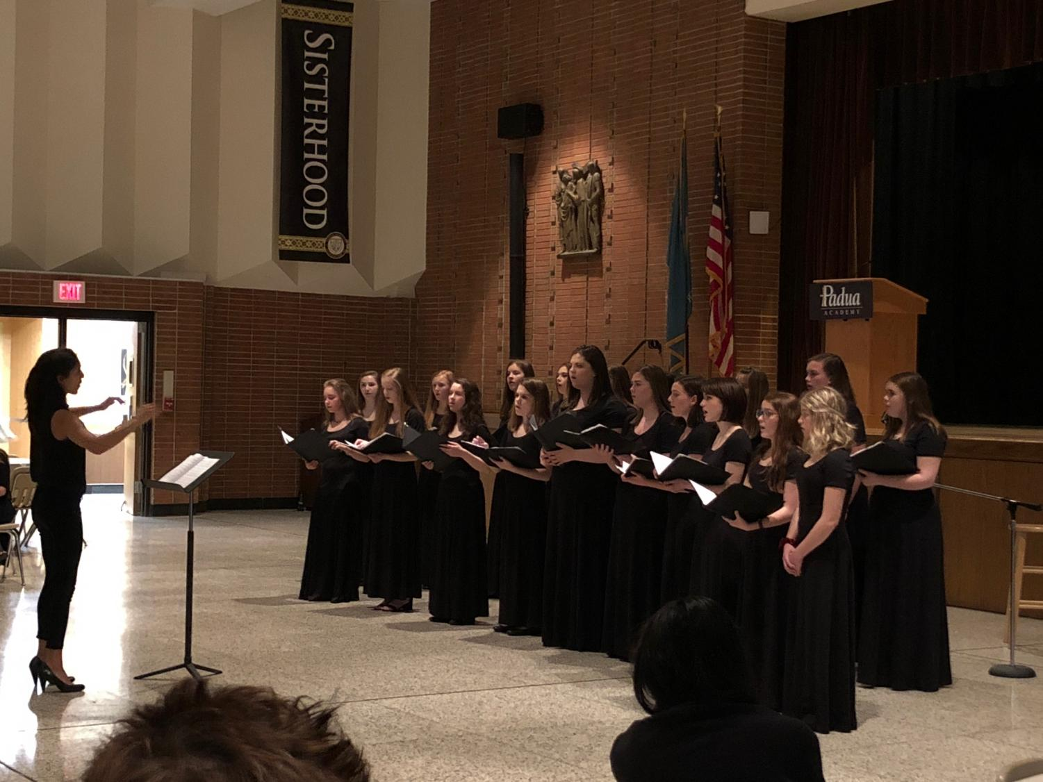 The Padua Women's Chorus performing, directed by Ms. Marion Jacob.