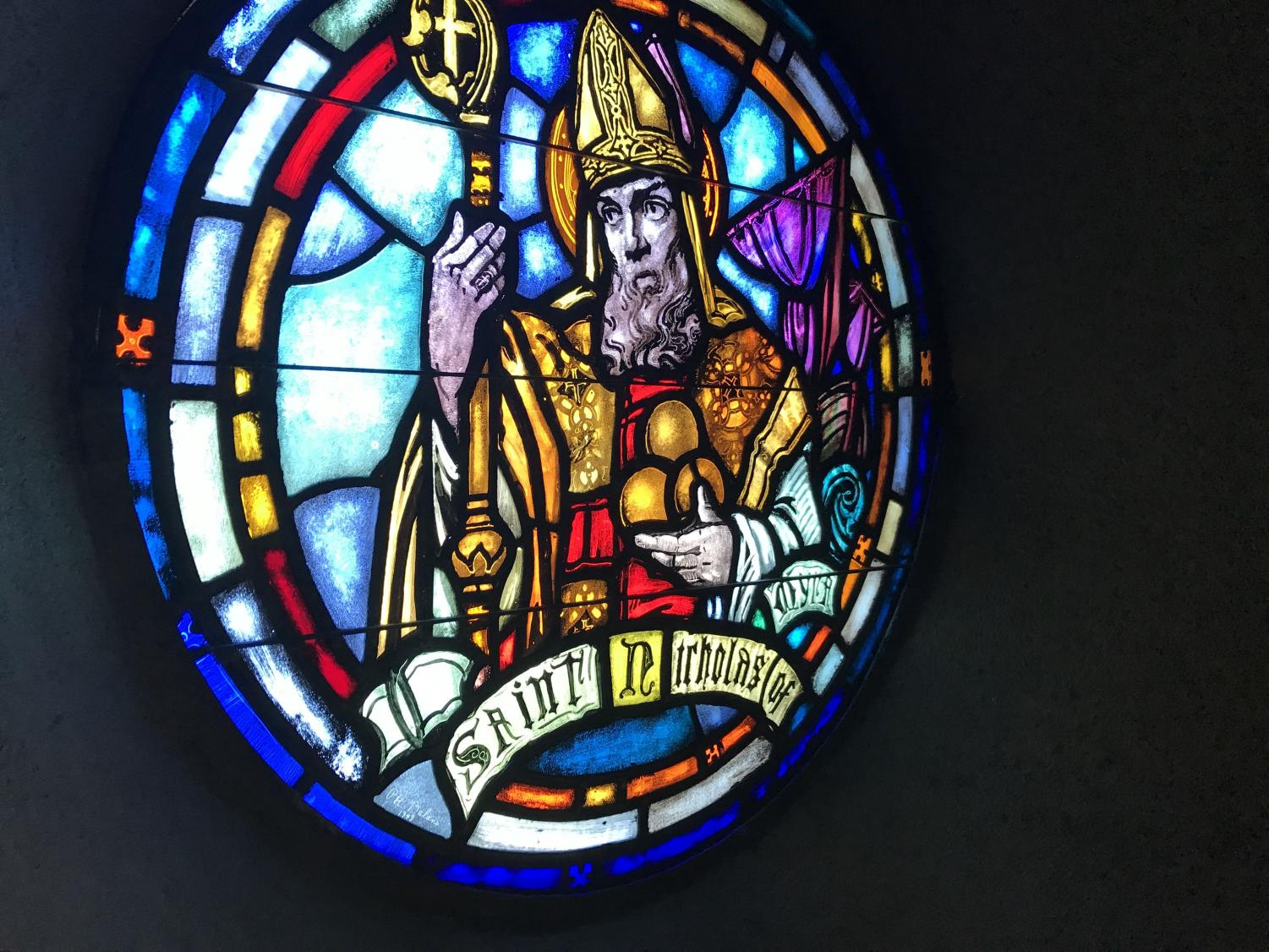 The stained glass windows were added in 1940. They were made by Balano Studios and funded by parish goers.