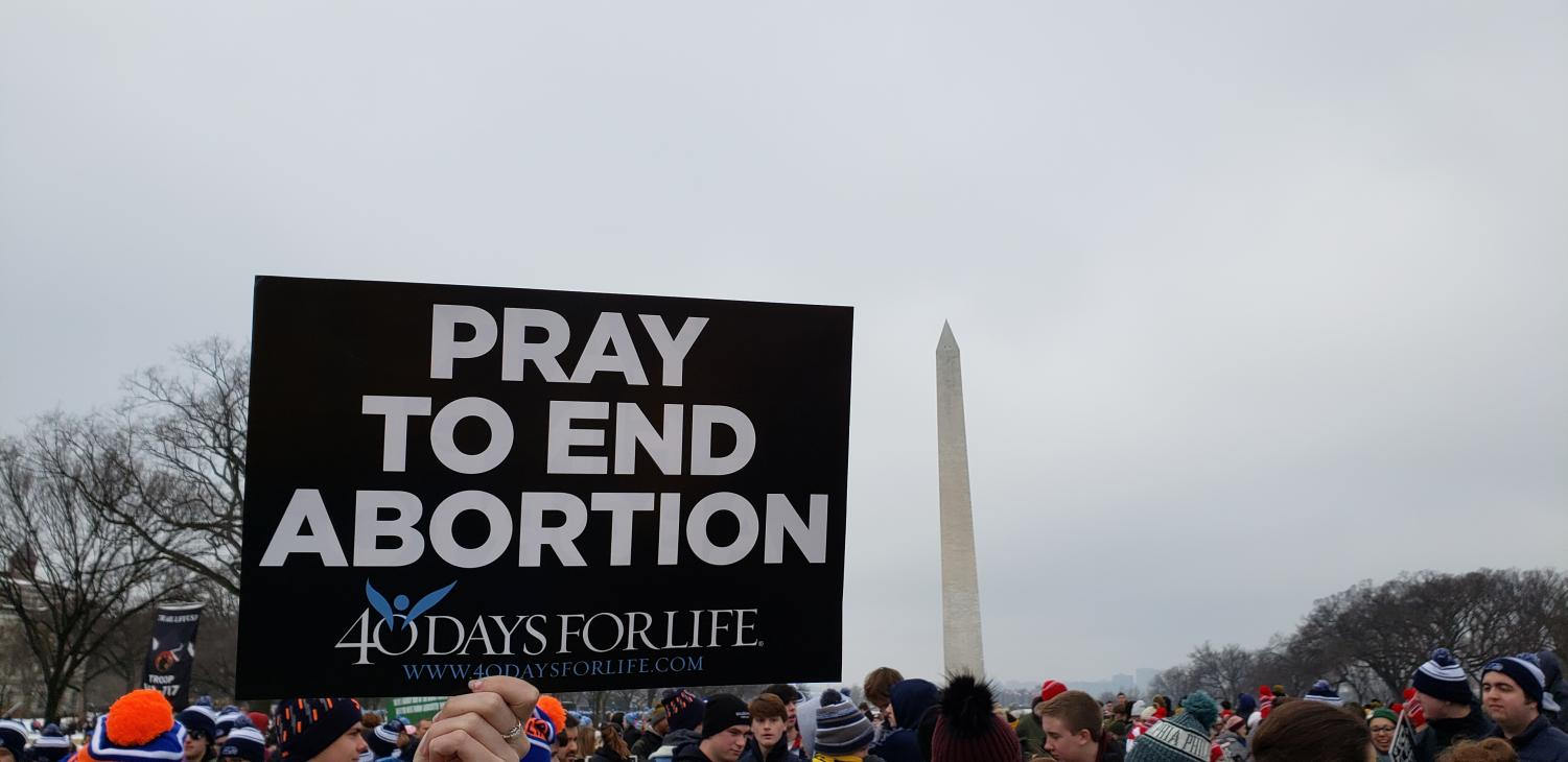 A student holds up her sign during the March for Life. The event attracted hundreds of thousands of pro-life supporters.