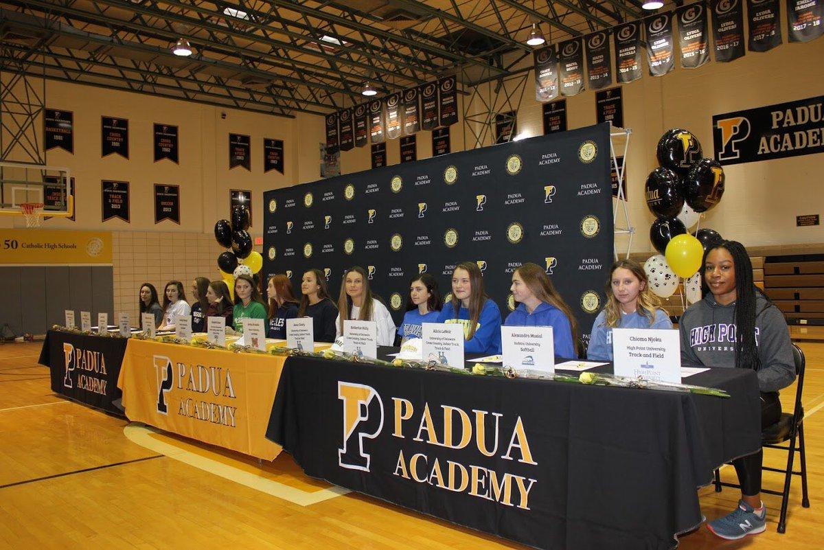 Thirteen of Padua's senior athletes at the signing day ceremony
