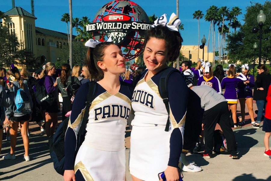 Reece Wagner (left) and Gwen Truman (right) pose at the ESPN World Wide Sports Complex.
