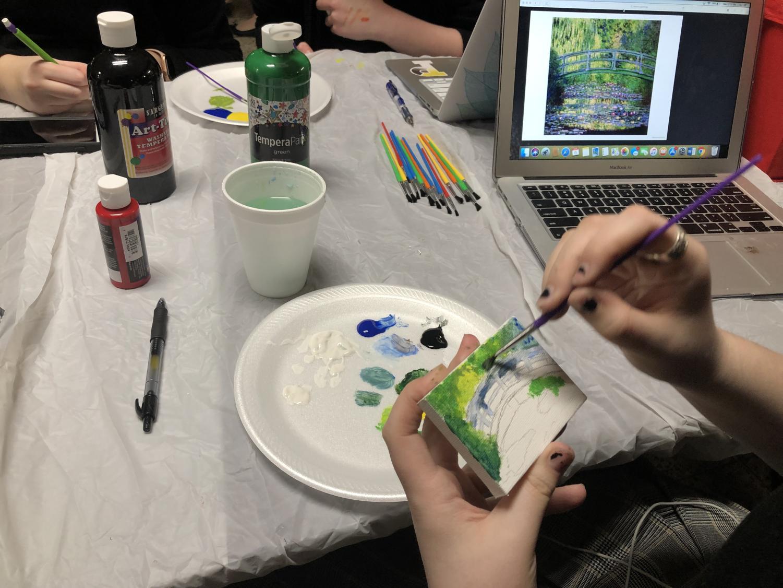 Ellie Vavala recreates Claude Monet's Bridge over a Pond of Water Lilies.