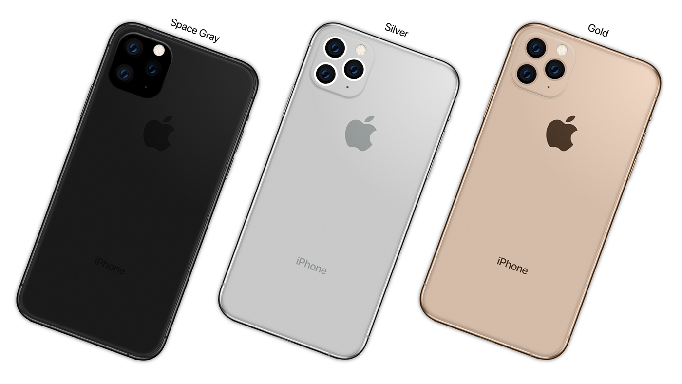 iPhone 11 Pro in the colors space gray, silver, and gold