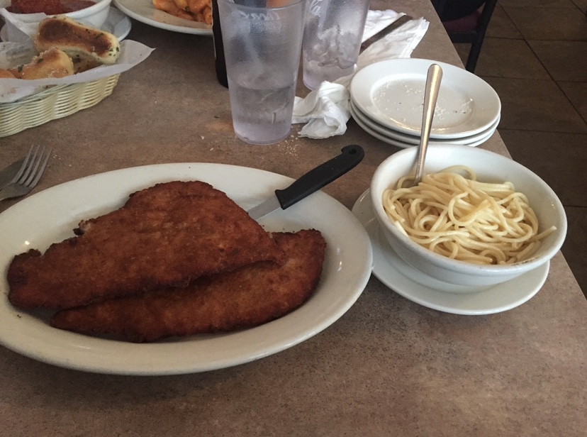 Even if you are more of a picky eater, Italiano's has options. This dish is a chicken cutlet with a side of spaghetti and of course, their signature breadsticks.