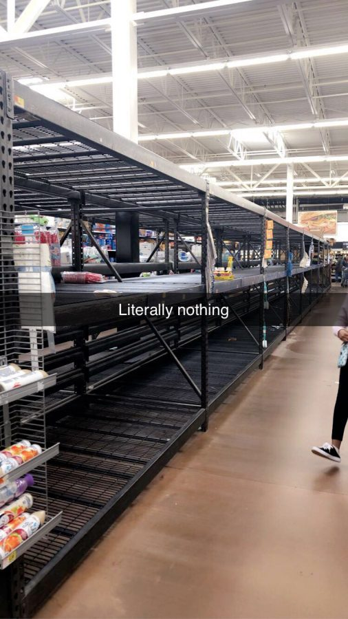 The water shelves at my local Walmart were empty when I stopped there. Panic-buying has often occurred as a result of the Coronavirus, as widespread fear drives people to bulk shop.