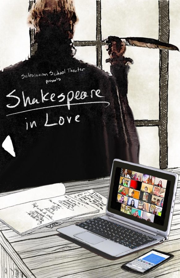 Promotional+Poster+for+%22Shakespeare+In+Love.%22+This+poster+was+created+by+our+director%2C+who+included+William+Shakespeare+writing+in+the+background%2C+a+screenshot+of+our+rehearsals+on+the+computer%2C+and+rough+drafts+of+Shakespeare%E2%80%99s+writing.