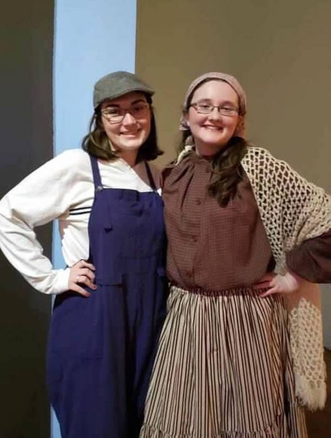 Malone+and+Counihan+together+in+costume+for+Salesianum%27s+musical+%22Ragtime.%22