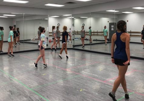 Dancers practice in the Newark studio. This is the first practice back after a seven month break.