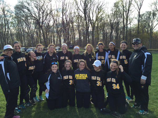 Padua Varsity Softball team poses for a picture after their victory against Ursuline Academy.