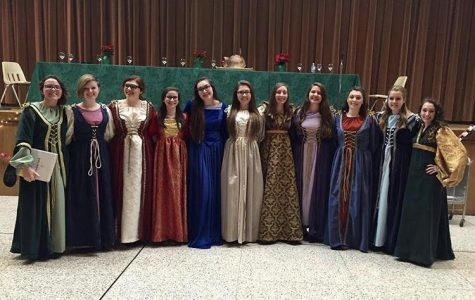 Padua's Madrigals pose after their dinner theater.