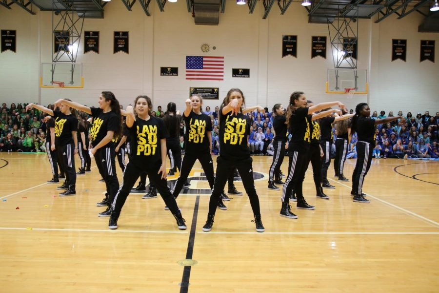 The+Padua+Dance+Team+mid-performance+at+the+pep+rally.