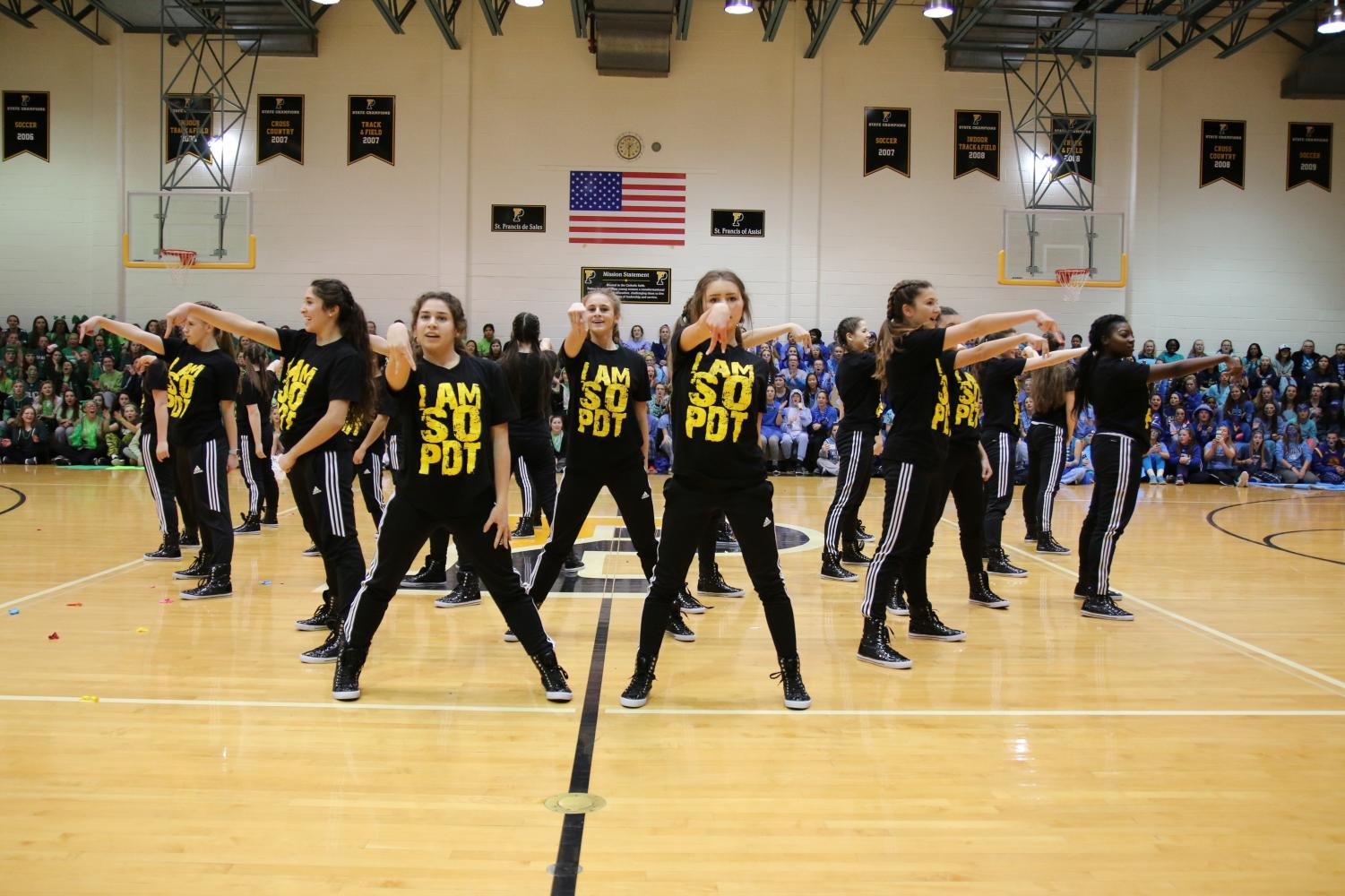 The Padua Dance Team mid-performance at the pep rally.