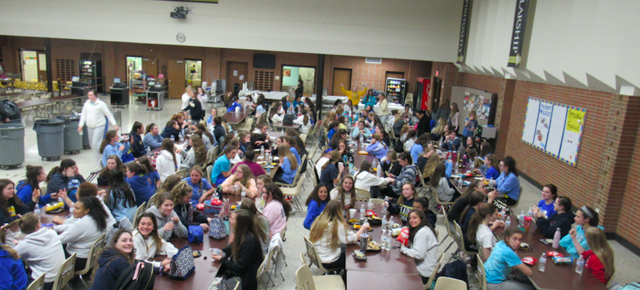 All of the sophomores at their special spirit day lunch.