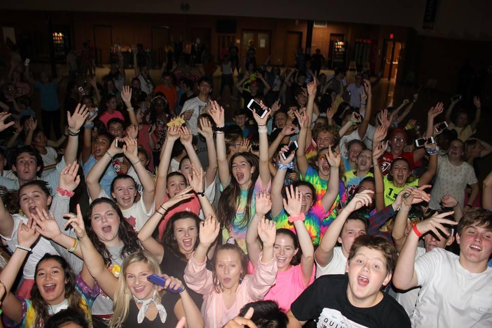Students enjoying the music at Flashback Friday.