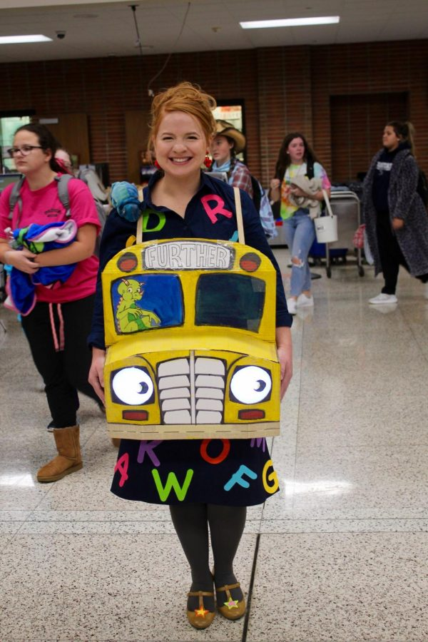Teacher Mrs. Kathleen O'Connell as Ms. Valerie Frizzle from the show