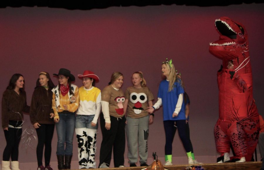 Senior group winning second place in the group competition for their costumes as characters from the movie