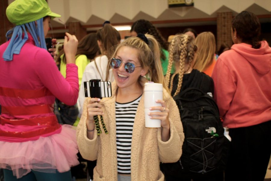 Sophomore, Reagan Widmaier, dressed up as the famous Youtuber Emma  Chamberlain.