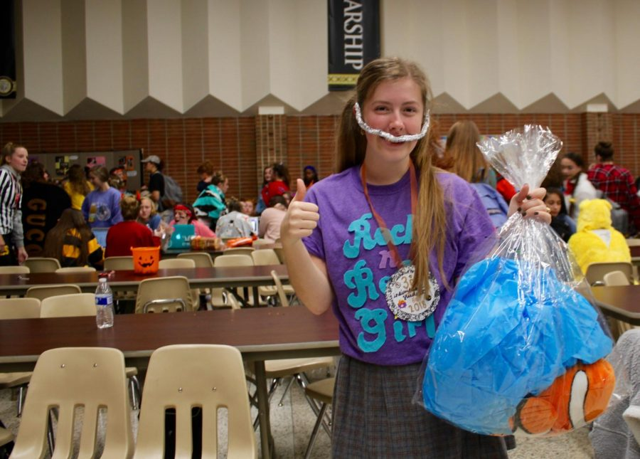 Grace Jennings, winning  third place in the individual  competition for her costume as Darla from Finding Nemo.