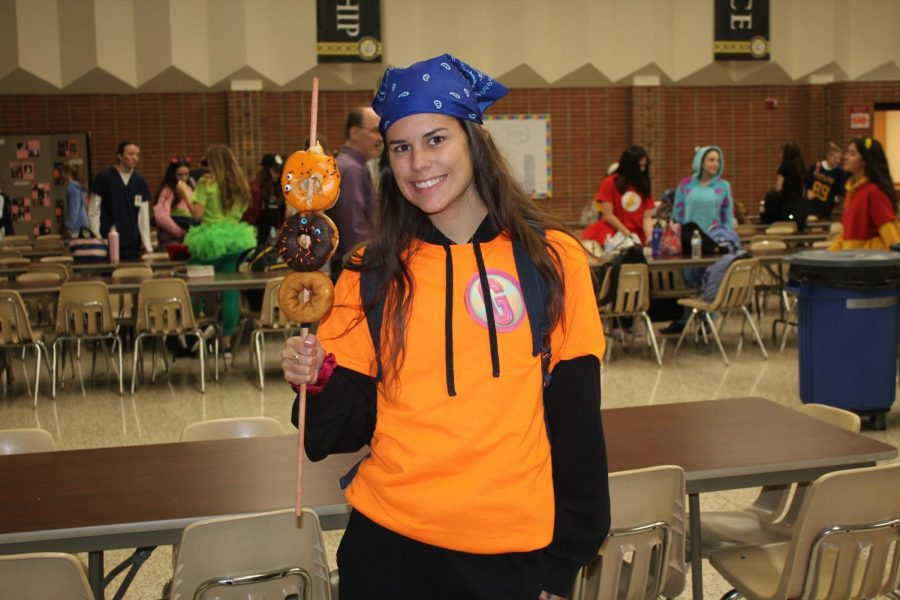 Kaylyn Collins dressed up as T-Bo from iCarly.