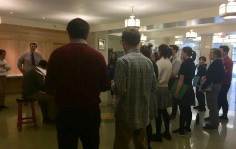 Padua, Salesianum, and Ursuline students rehearse for the Salesianum musical,