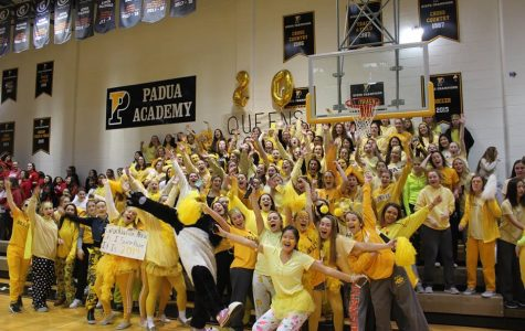 The senior class celebrated their final spirit assembly and won a dress down day.
