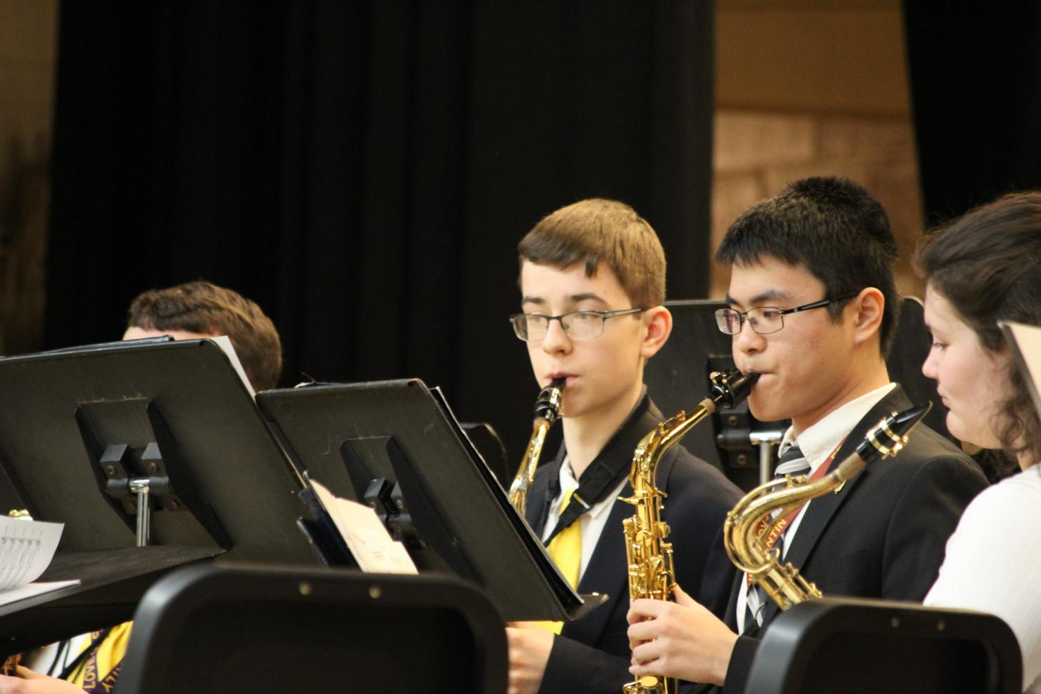 Salesianum boys in the Wind Ensemble.