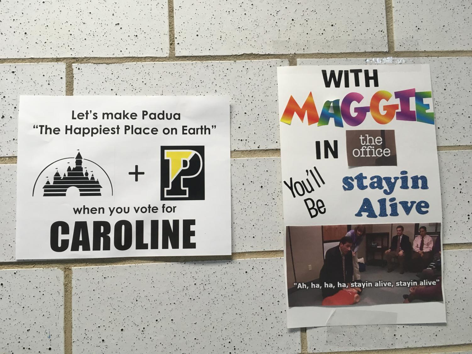 A large aspect of the campaign for Student Council Executive Officer is strategic placement of posters around school.