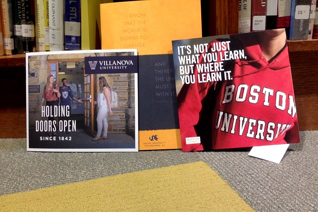 Brochures from Villanova University and Boston University were given to students at the visits. These help students learn more about potential colleges.