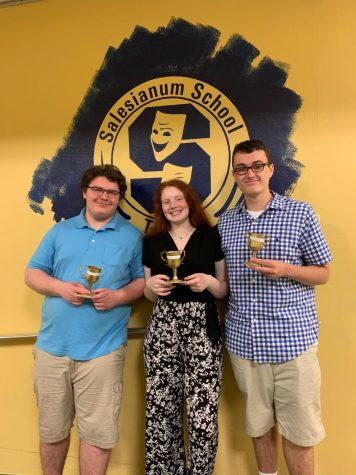 Gabe Losten '19, left, with Vieve Oberholzer Padua '18, and Mike Carr Salesianum '18. Losten and his very close theater friends share a last photo after the 2019 Sallies Theater Award Ceremony to remember the eventful afternoon.