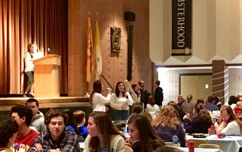 Attendees of the Spaghetti Dinner enjoyed their meal while being treated to a performance by a senior, Gina Ruffo, and a sophomore, Samantha Tuschinski.