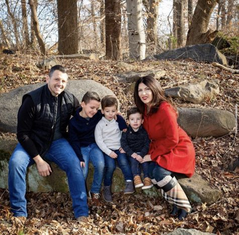 A family photo of Krysten Gentile (far right) and John Gentile (far left) with their three boys, Bradley (middle left), Christian (middle), and Dean (middle right). Photographer: Stacey Zarro Photography