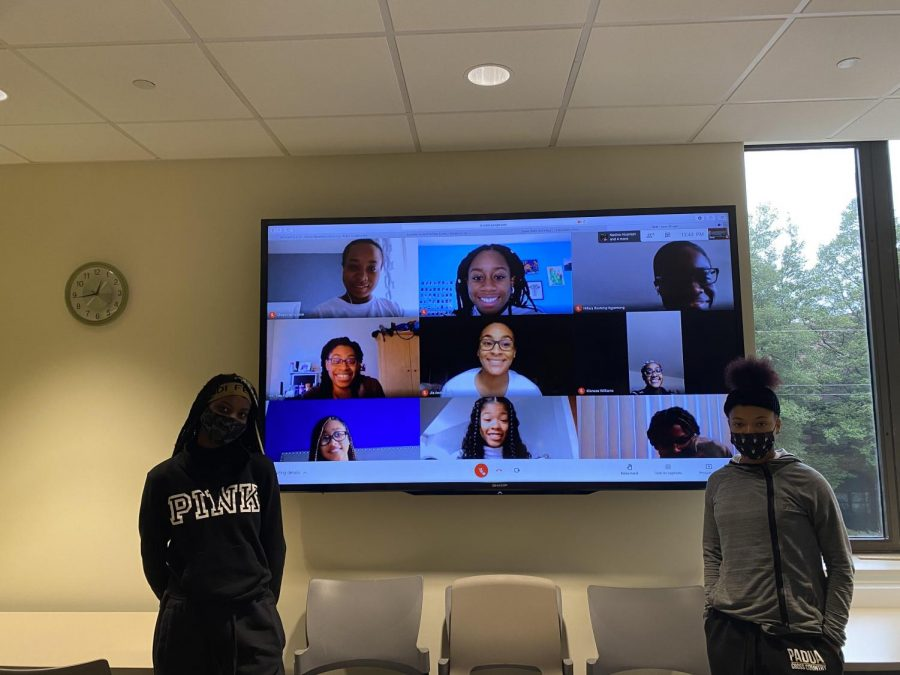The Black Student Union gathers for a hybrid meeting. This year, members and moderators have made many improvements to the club's structure and organization.