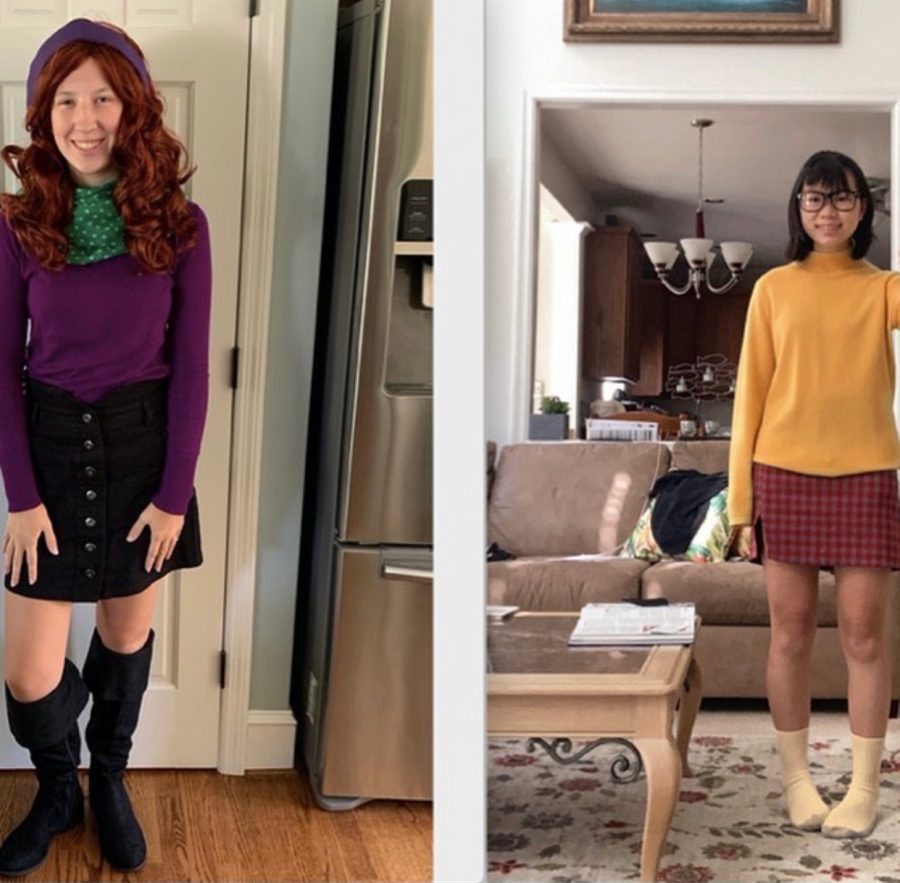 Amelia Maguire '24 and Kaitlyn Mark '21 win the Halloween Costume Contest  as Daphne and Velma from