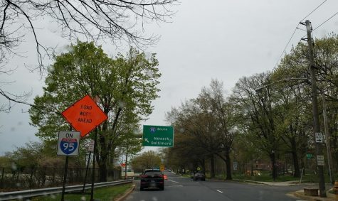 A sign on the ramp from Jackson Street to I-95 warns of the construction ahead. Work began in March 2021 and is projected to end in Fall 2023.