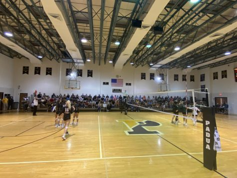 Spectators filled the stands for the first home volleyball game of the season against St. Marks. This was the first time the gym was open to full capacity during the pandemic.