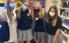 Freshmen Hannah McGuigan and Mia Laudien pose with their shadows Katie and Charlotte. They shadowed on September 27th.