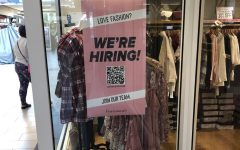 This flyer is posted outside Francesca's at Christiana Mall along with many others advertising that the store is in need of employees. Padua student workers were greatly affected by the shortage of employees.